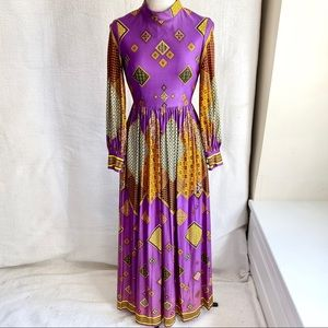 Vintage 60s 70s Marshall Fields Boho Print Dress